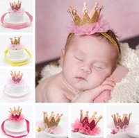 Wholesale Sparkle Elastic Headband - New Baby Princess Crown Headbands Kids Elastic Sparkle Bling Headwear Newborn Baby Photography Props Lace Hair Accessories Hairpin KHA267