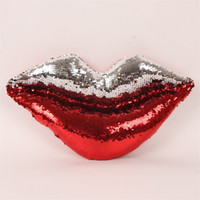 Wholesale lips rooms for sale - Sequins Red Lip Pillow For Car Living Room Decorative Double Color Cushion In Fashion Style High Quality js X