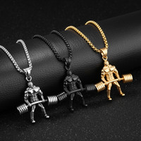 Wholesale weightlifting charms - Fashion Hip Hop Personality Domineering Titanium Steel Necklaces Weightlifting Hercules Charm Pendant Necklace For Mens Gifts 3 Colors G872F