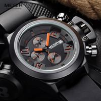 спортивные силиконовые часы для мужчин оптовых-Megir мода мужская Силиконовая лента Спорт Кварцевые наручные часы аналоговый дисплей хронограф черный часы для человека с календарем 2002