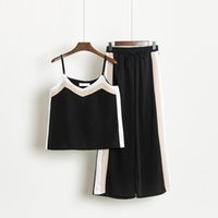Wholesale womens two piece clothing resale online - Summer Sexy Piece Set Women V Neck Crop Top With Pants Suits Womens Casual Sportsuit Clothes Two Piece Set Tracksuits