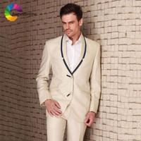 шампанское тонкий подходящий смокинг оптовых-Slim Fit Champagne Groom Tuxedo Black Shawl Lapel Jacket Pants 2Piece Tailored Men Wedding Suits Blazer Masculino Costume Homme