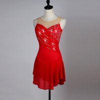 Wholesale Blue Ice Skating Dresses - Figure Latin Dance Dress for Ladies Black Red Blue Competitive Elegant Fashion Girl Women Ballroom Ice Skating Costume H8017