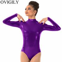 leotards para ballet venda por atacado-OVIGILY Adultos Roxo Manga Longa Collant Para A Ginástica Mulheres Spandex Metálico Gorgorão Leotards Dança Ballet Vermelho Bodysuits
