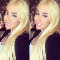 Wholesale long platinum lace front wig resale online - Top Quality Full Lace Human Hair Wigs Platinum Blonde Vrigin Peruvian Straight Blonde Human Hair Wig With Bleached Knots And Baby Hair
