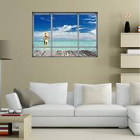 vista de janelas 3d venda por atacado-Adesivo De Parede 3D Pôr Do Sol Seascape Removível Papel De Parede Janela Criativa Vista Céu Azul Praia Trópico Cenário Decoração Da Sua Casa