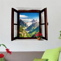 peinture de fond de paysage achat en gros de-Sticker Mural Faux 3D Décor Fenêtre Chambre Salon Porche Ameublement Décor Fond amovible Papier Peint Peinture 4 5xm bb