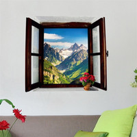 Wholesale scenery for painting for sale - Wall Sticker False D Scenery Window Bedroom Living Room Porch Home Furnishing Decor Removable Background Wallpaper Painting xm bb