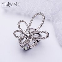 Wholesale Elegant Fashion Jewellery - China knot design white ring statement jewellery Elegant fashion Jewelry high quality micro pave round cut crystal hot rings