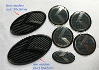 emblèmes personnalisés achat en gros de-Livraison gratuite 7pcs / set nouvel emblème de badge logo K carbone 3D K carbone noir pour KIA OPTIMA K5 2011-2018 / voiture emblèmes / autocollant 3D