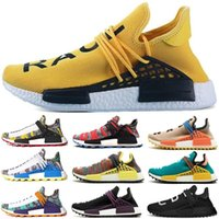 Wholesale human race shoes men for sale - 2018 Human Race Pharrell Williams Hu trail NERD Afro Men Womens Running Shoes XR1 White Canvas Black Nerd Sports Shoes With Box