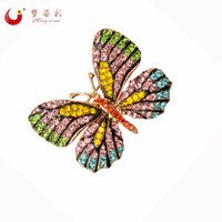 Wholesale garment butterfly - 8 Colors Rhinestone Butterfly Brooch Pin Corsage Broach Women Dress Wedding Bridal Brooch Pin Garment Accessory Broches Jewelry