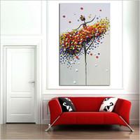 figura simple pintura al por mayor-Pintado a mano figuras de pintura al óleo sobre lienzo moderno estilo simple abstracto pintura al óleo colorida bailarina de ballet decoración del hogar