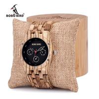 Wholesale Custom Logo Watches - BOBO BIRD Zebra Wood Men's Date Time Week 24 Hours Wooden Watches Round Quartz Watch With Gift Wood Box custom logo
