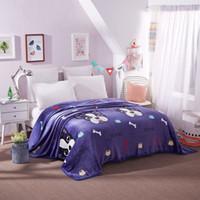 ropa de cama púrpura simple al por mayor-Púrpura, blanco, patrón Husky, práctica, franela, liso, colcha, manta, manta de lana, manta, Manta Coberto, para sofá cama, oficina de auto