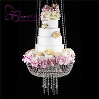Wholesale april 18 - Glass Crystal Chandelier style drape suspended Swing cake stand round 18""