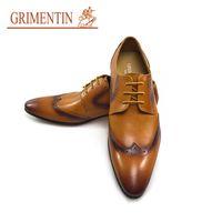 sapatos de vestido laranja para homens venda por atacado-GRIMENTIN venda Quente marca mens oxford sapatos de couro genuíno orange formal homens sapatos de vestido de negócios de moda italiana de escritório do partido sapatos masculinos
