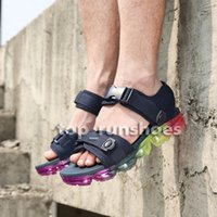 Wholesale rainbow sandals shoes - Rainbow vapormax Sandals 2018 new summer Mens womens black white red pink split Slippers Casual Shoes 36-45