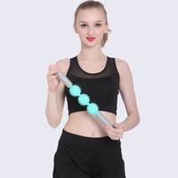 ingrosso blocchi di schiuma di spedizione-3 Spiny Ball Massage Stick Yoga Bodybuilding Muscle Relax Bellezza Rullo domestico Sport domestico Salute Vendita calda 12yl ii