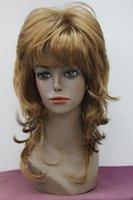 morango claro venda por atacado-Moda luz morango loiro camadas de comprimento médio sintético das mulheres peruca cheia