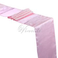 ingrosso corridore rosa da tavolo-5PCS New Light Pink / Baby Pink Runner da tavolo in raso 12