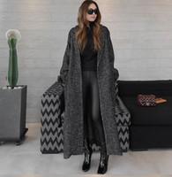 yünlü yaylı mantolar toptan satış-2018 sonbahar bahar yeni kadın sıcak balıksırtı yün palto ultra uzun gevşek artı boyutu kalın yün ceket kuşaklı giysiler