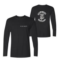 chemises de mode graphiques hommes achat en gros de-New Fashion T-shirts Hommes Manches Longues Coton Noir Casual O-Neck Funny Graphic T-shirts Mode Casual Tee Top