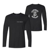 camisetas gráficas de manga larga al por mayor-Nuevas camisetas de moda para hombre de manga larga de algodón negro Casual O-cuello Funny Graphic Tshirts Moda Casual Tee Top