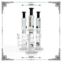 Wholesale water bong boxes online - phoenix black white straight fab Jet Perc Freezable Coil Tube bong glass water pipe build a Glycerin hookahs smoking heady