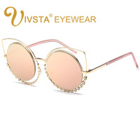 Wholesale ring mirror - IVSTA 2018 Fashion Sunglasses Women So Nice Real Double Diamond Ring Cat Eye Sunglasses Woman Pink Mirror Lenses Brand Designer CE FDA