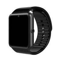 ios elma akıllı saatler toptan satış-SIM Kart Yuvası Ile GT08 Smartwatch Android Akıllı İzle Samsung ve IOS Apple iphone Smartphone için Bilezik Bluetooth Saatler