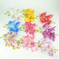 Wholesale Silk Mini Flower Heads - 1pcs Silk Butterfly Orchid Artificial Mini Flower Head For Wedding Car Home Decoration Orchs Flores Cymbidium Flowers Plants
