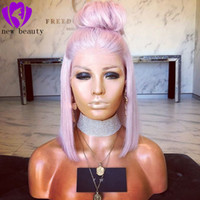 12 zoll lila haare großhandel-12 Zoll Bob hell lila synthetische kurze Haare Lace Front Perücken Glueless für Frauen natürlichen Haaransatz 150% Dichte
