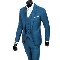 verheiratete männer anzüge großhandel-Herrenmode Wirklich ein Foto Hochzeit Anzug der Bräutigam heiraten offiziell Slim Fit Männer dreiteilige Anzug (Jacke, Weste + Hose)