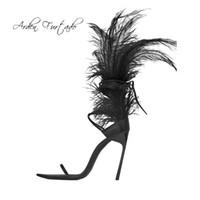 обувь страуса оптовых-Arden Furtado летние туфли на высоком каблуке 12см белые страусиные перья туфли на шпильках сексуальные открытые носки лодыжки босоножки женские туфли женские туфли