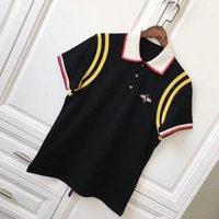 Wholesale Asian Fashion Designers - Brand 2018 Mens T Shirt Fashion Stripe splicing Designer Bee lapel Short Sleeve Cotton POLO T Shirt Homme Fitness Asian Size