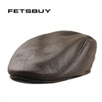 Wholesale peaked cap leather - FETSBUY New Fashion PU Newsboy Hat England Personality Peaked Berets Cap Man and Woman Leather Beret Caps Visors