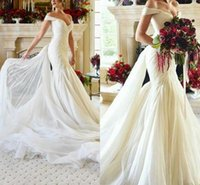 Wholesale sweetheart trumpet chiffon wedding dress for sale - Temperament Wedding Dresses Pleats Sexy Off Shoulder V Neck Tulle Mermaid Mopping Long Section Charming Luxury Wedding Gowns