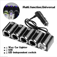 luz mais leve do usb venda por atacado-4 vias de isqueiro do carro isqueiro splitter adaptador de carregador de carro usb 12 v 24 v led interruptor de luz universal