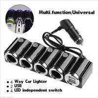 12v auto lichtadapter großhandel-4 Way Auto Zigarettenanzünder Splitter Auto Ladegerät Adapter USB 12 V 24 V LED Lichtschalter Universal