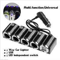 anahtarlı anahtarlar araba toptan satış-4 Yönlü Araç Çakmak Soket Splitter Araç Şarj Adaptörü USB 12 V 24 V LED Işık Anahtarı Evrensel