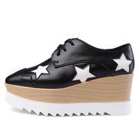 Wholesale women british style - Women British Style Shoes Fashion Platform Stars Square Toe Flats Casual Thick Heel Shoes