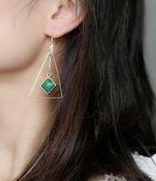 schwarzes dreieck baumeln ohrringe großhandel-Lange Quaste-Ohr-Draht-Ohrringe für Frauen-Modeschmuck-Türkis-weißes Grün-Schwarzes Dreieck-Quadrat-Geometrie-großer Leuchter Dangle Earring