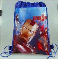 Wholesale superhero bags - 1PCS Superhero Iron Man Cartoon Kids Drawstring Printed Backpack Beach Shopping School Traveling Shoulder Bags 34*27CM