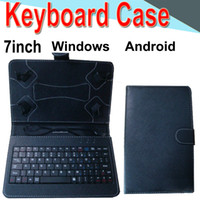Wholesale waterproof keyboard case online - 7inch Wire Keyboard Case Cover for Android Windows Ultra Thin Wireless ABS Keyboard PU Case Universal Mobile Phone XPT
