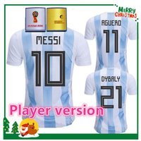 Wholesale Messi Football Player - Player version 2018 Argentina Soccer Jersey Argentina MESSI DYBALA DI MARIA AGUERO HIGUAIN soccer shirt home blue white Football uniforms