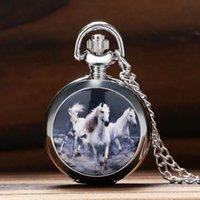steampunk saatleri toptan satış-Vintage Gümüş At Tasarım Kuvars Pocket saat Steampunk Kolye Kolye Saat Zinciri Kadın Erkek Hediyeler için Relogio De Bolso