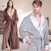 3db7f622ff Men Winter Extra Long Thick Thermal Bathrobe Mens Luxury Flannel Warm  Kimono Bath Robe Women Sexy Fur Robes Male Soft Nightgown