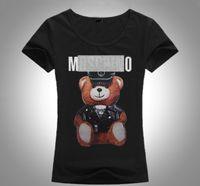 ingrosso moda nera-2018 New Brand Summer Top Fashion Tee Women VOGUE Orso Stampato Harajuku T Shirt Nero Bianco T-Shirt Femminile Camisas Tees Maglietta Delle Signore Mo61