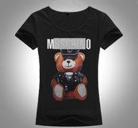 animal urso preto venda por atacado-2018 Nova Marca de Verão Tops Moda Tee Mulheres VOGUE Urso Impresso Harajuku T Shirt Preto Branco Feminino T-shirt Camisas Tees Senhoras Tshirt Mo61